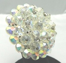 VTG RARE Clear AB Demi Parure Crystal Rhinestone Accented Glass Pin Brooch  image 2