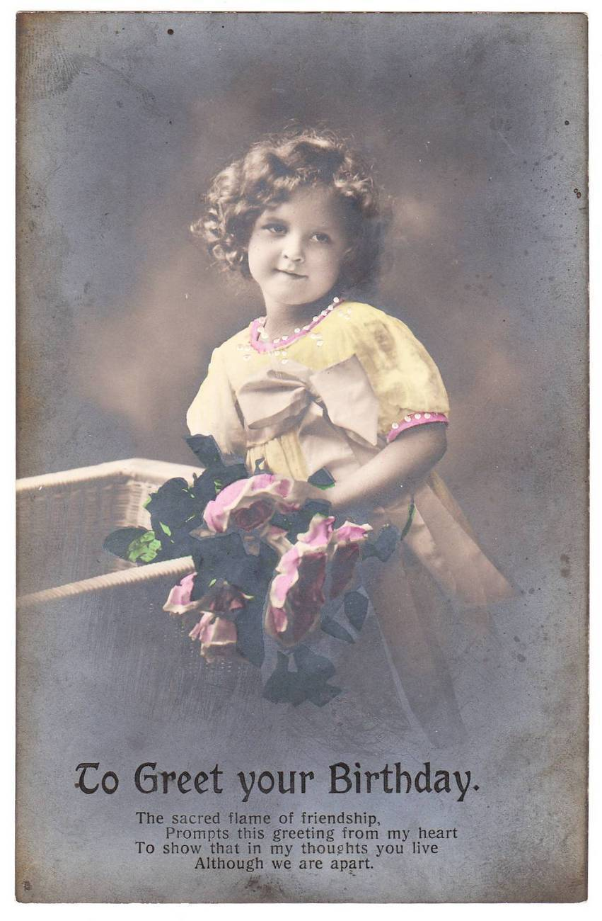 Vintage Real Photo Birthday Postcard Little Girl Flowers