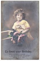 Antique birthday postcard little girl blonde curls flowers thumb200