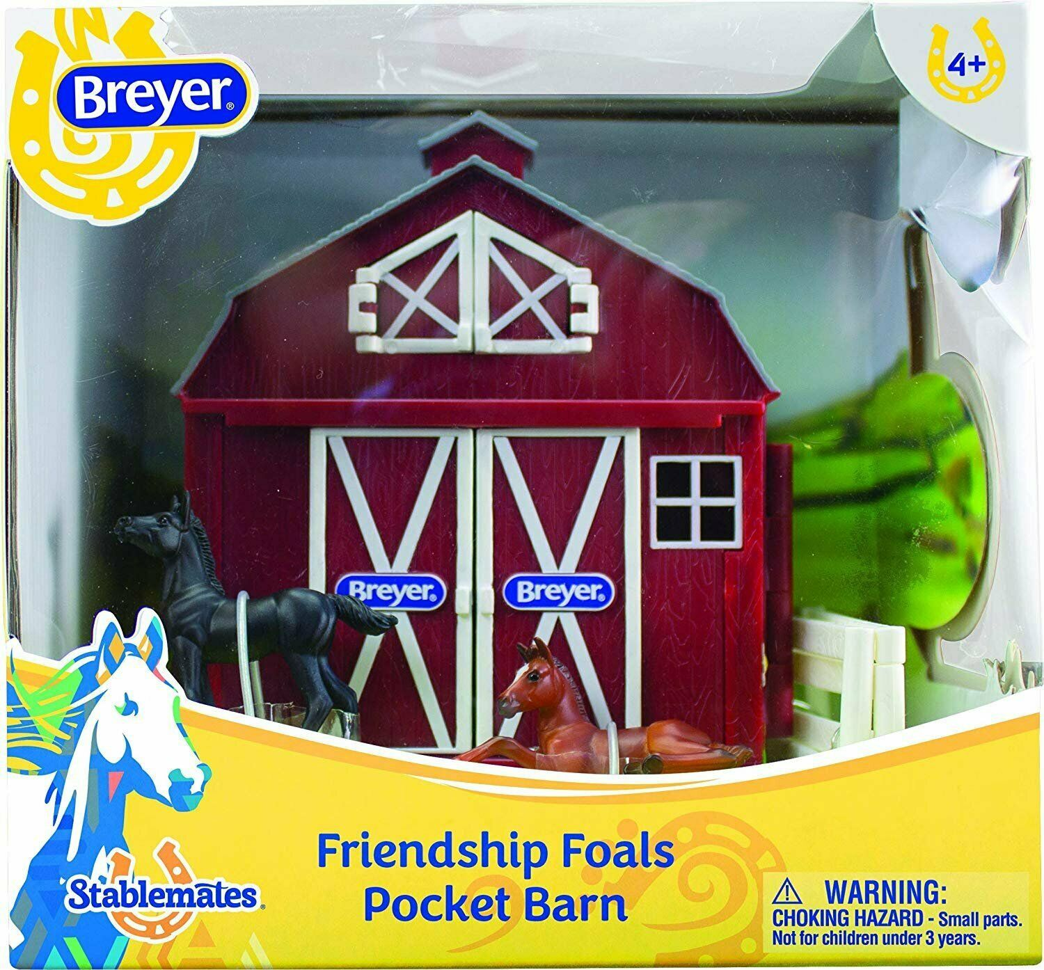 Primary image for Breyer Stablemates Friendship Foals Pocket Barn Horse Toy | 4 Piece Play Set...