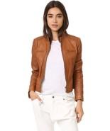 Womens Brown Leather Jacket Biker Moto Lambskin Size XS S M L XL XXL Cus... - $149.40+