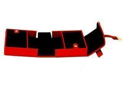 Jewelry Case Box RED Leather & BLACK Suede Many Compartments