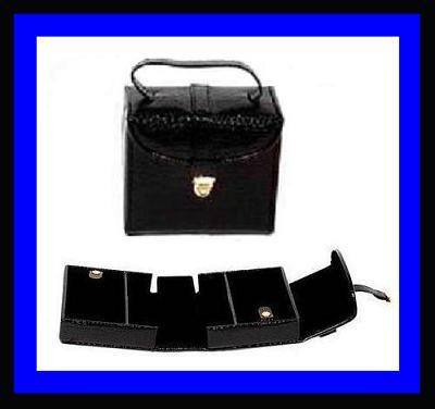 Jewelry Case Box BLACK Leather & Suede Many Compartments