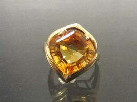 Vintage 14K Solid Yellow Gold 12ct Genuine Citrine Cocktail Ring Size 6.25 - $395.00