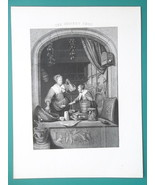 HOLLAND Store Woman Selling Groceries - 1840s Engraving Antique Print - $12.96
