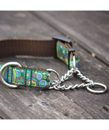 Cosmic Flower Green Jacquard Adjustable Dog Training Half-Choke Collar - $33.00