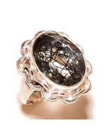 Black Rutilated Quartz Gemstone 925 Silver Overlay Handmade Statement Ri... - $11.99