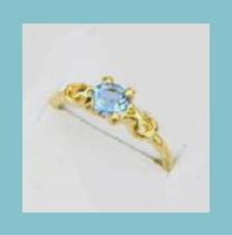 Brilliant 0.25ct CZ SWISS BLUE TOPAZ Yellow Gold Tone Ring - $24.99