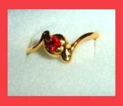 Twist Shaped 0.25ct CZ RED RUBY & Yellow Gold Tone Ring - $24.99