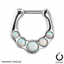 Septum Clicker Nipple Cartilage Ring with Five Opal White Gem Set - $9.69