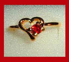 Heart Shaped 0.25ct CZ RED RUBY & Yellow Gold Tone Ring