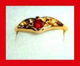 Nugget Shaped 0.25ct CZ RED RUBY & Yellow Gold Tone Ring - $24.99