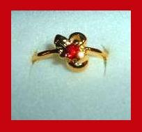 Bow Shaped 0.25ct CZ RED RUBY & Yellow Gold Tone Ring