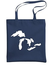 GREAT LAKES - usa canada america north - Heavy Duty Tote Bag, Navy - £13.55 GBP