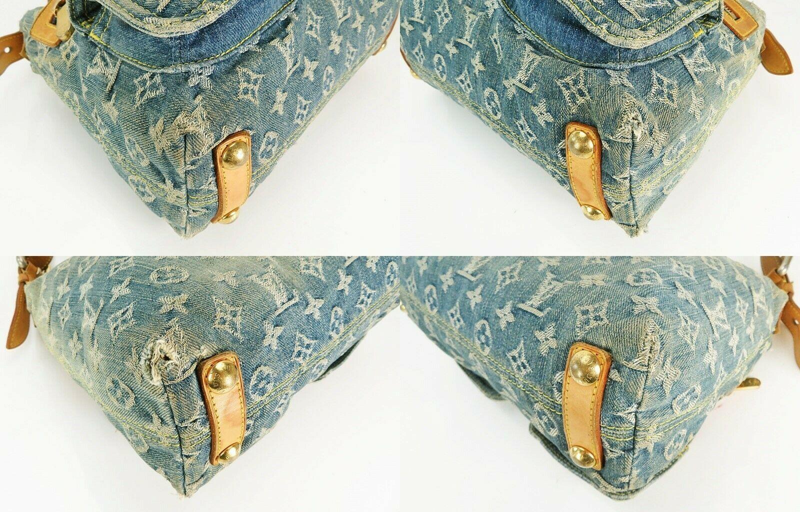 Authentic LOUIS VUITTON Baggy PM Blue Denim Shoulder Tote Bag Purse #34953 image 7