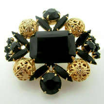 "Vintage Black Glass Juliana Rhinestone Brooch Pin Gold Tone Filigree Orbs 2.25"" - $49.49"