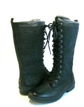 UGG ELVIA WOMEN WINTER TALL BOOTS LEATHER BLACK US 9.5 /UK 8 /EU 40.5 - €137,28 EUR