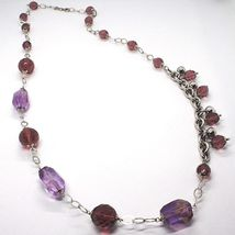 Silver necklace 925, FLUORITE OVAL Faceted Purple, Length 80 cm image 3