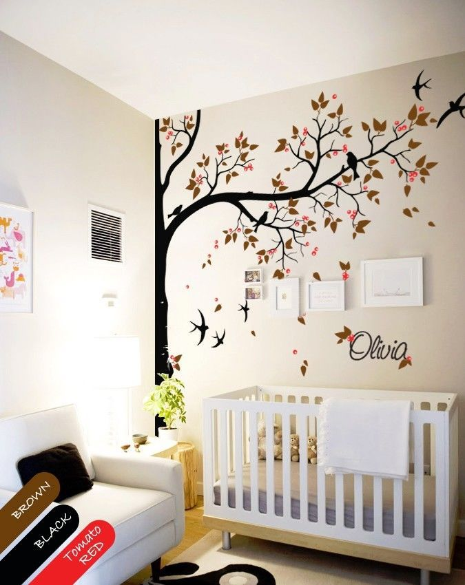 Nursery wall decal tree swallows and baby name baby room for Baby name decoration