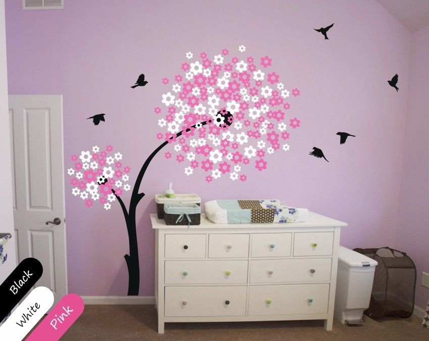 modern baby nursery wall decals tree wall decal tree. Black Bedroom Furniture Sets. Home Design Ideas