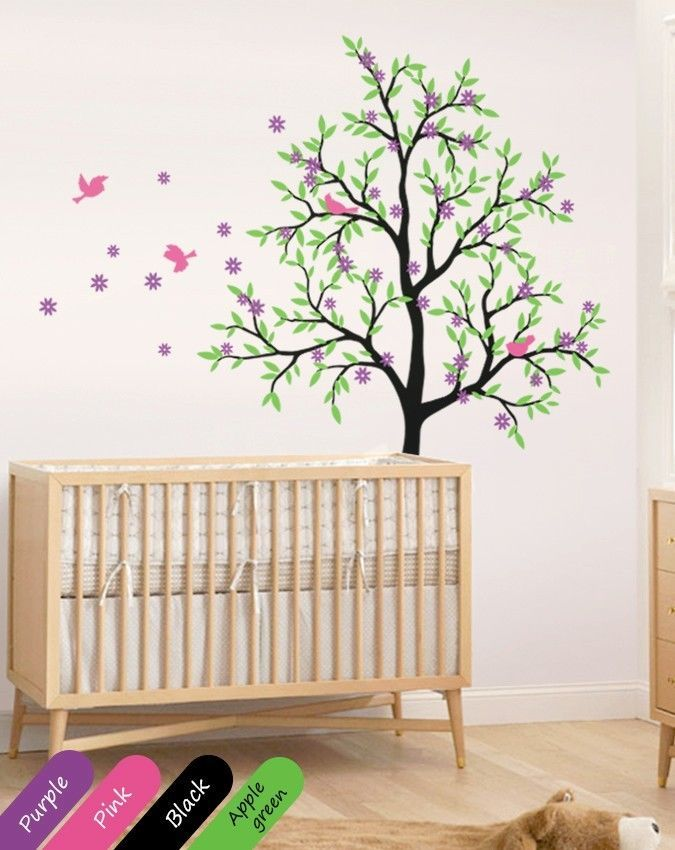 Nursery tree wall decal cherry blossom tree wall mural for Cherry tree wall mural