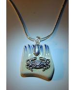 Beach Pottery Seaglass Silver Crab Necklace - $15.00