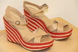 NIB Via Spiga EVELINA Wedge Espadrille Platform Sandals Sz 9.5 M  Cappuc... - $53.03
