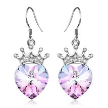 [Valentines Day Gift] Angelady Purple Pink Crown Drop Earrings Jewelry w... - $49.95