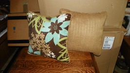 Pair Brown/Turquoise/Green Print & Havest Gold Throw Pillows 17 x17 - $59.95