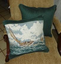 Pair of Green Sailboat Print Throw Pillows  17 x 15 - $59.95