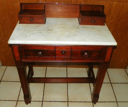 Walnut Eastlake Burl Paneled  Marble Top Writing Desk  (DR21) - $649.00