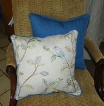 Pair Blue Beige Bird Print / Blue Denim Throw Pillows  18 x 18 - $59.95