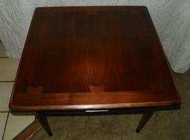 Mid Century Lane Walnut and Ash Dovetailed  Top Lamp Table with Drawer  (T298) - $399.00