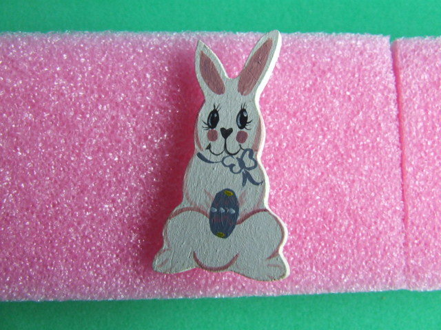 Easter Painted Wooden Bunny Pin Unique item