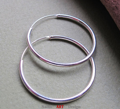 Big Huggie Hoop Earrings. Modern Hoops. Sterling Silver Jewelry - $23.00
