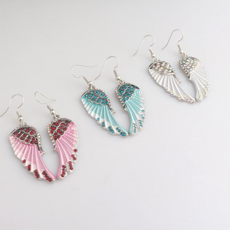 Cute Women's Earrings Angel Wings Rhinestone Alloy Dangle Earring Fashion Earrin