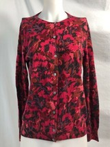 Lands' End Red and Black Cardigan Sweater, Womens's Size M 10-12 - $25.32 CAD
