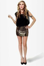 Rocker Chic Sequin Gold Black Stripe Sheer Chiffon Micro Mini Party Club... - €8,84 EUR