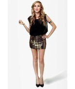 Rocker Chic Sequin Gold Black Stripe Sheer Chiffon Micro Mini Party Club... - €8,81 EUR