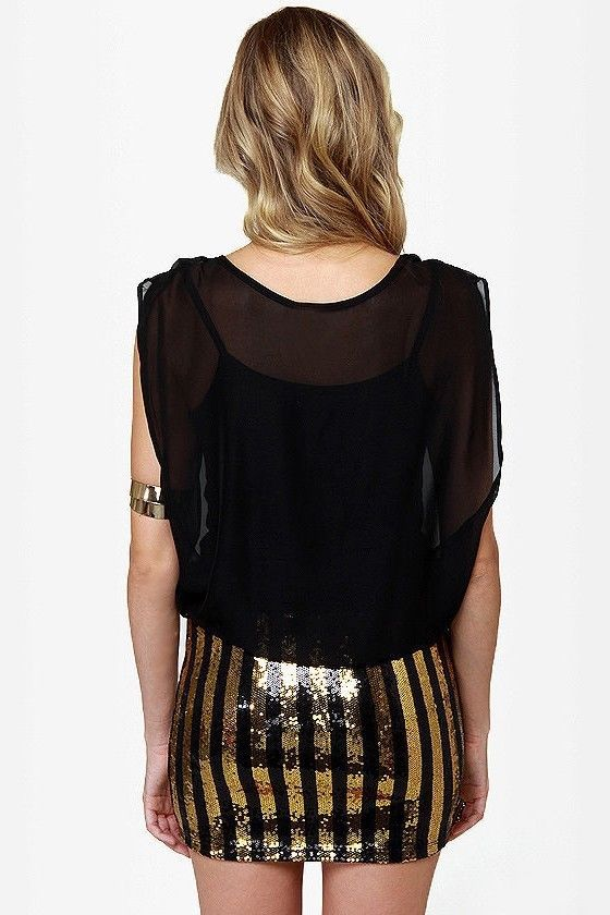 Rocker Chic Sequin Gold Black Stripe Sheer Chiffon Micro Mini Party Club Dress