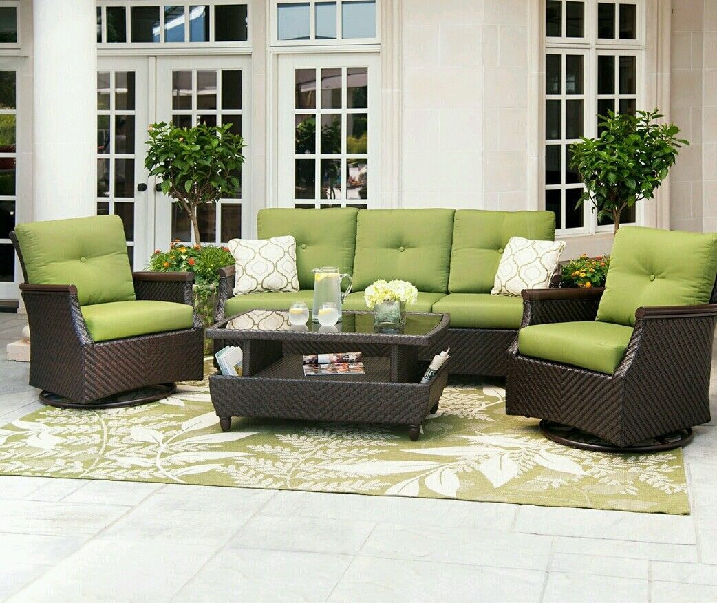 Outdoor Patio Wicker Furniture Deep Seating 4 Piece The Carnaby Palm Green Pool Patio Garden