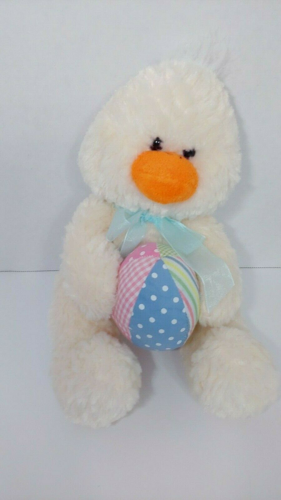 Primary image for Animal Adventure yellow cream textured Plush duck holding Easter egg blue bow