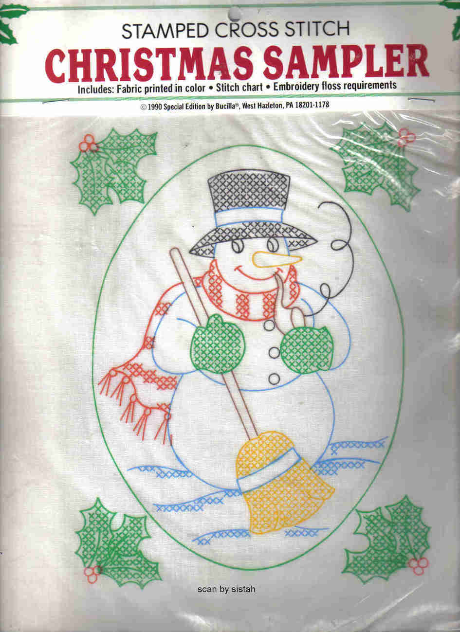 Bucilla Snowman Cross Stitch Pattern stamped holly fabric Christmas MC1