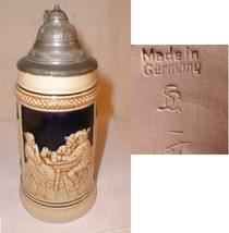 german beer Stein Pottery Pewter Lid Germany Tavern Scene Signed - $41.00