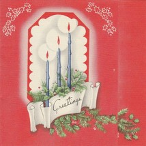 Vintage Christmas Card Blue Candles Pine Branches Red Background 1940s - $7.91