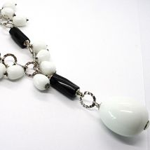 Silver necklace 925, Onyx Black, White Agate Drop Waterfall Pendant image 4