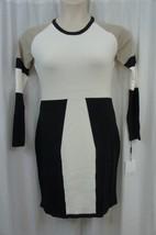 Calvin Klein Dress Sz M White Black Multi Long Sleeve Colorblock Busines... - $64.90