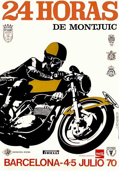 Primary image for 1970 24 Hours Of Montjuic Motorcycle Race - Barcelona Spain - Promotional Poster