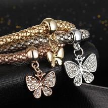 Butterfly Shape Pendant 3Pcs/set Bracelets & Bangles Gold-color AAA Cubic Zircon - $13.49
