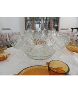Jeannette Glass Co. Marquis Pattern 26 Pc Pressed Glass Punch Bowl Set #... - $120.00